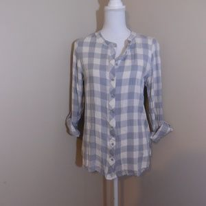 Kensie Gingham Print Button Down Shirt Size Large